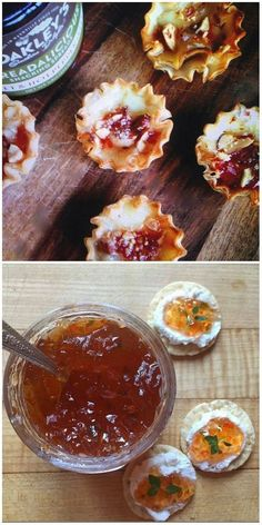 Use pepper jelly with brie cheese and chopped roasted almonds to create a scrumptious filling for little phyllo dough cups. Or serve Pepper Jelly simply with cream cheese on crackers.  @0bsubjvxac3x4ux