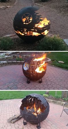 Instead of destroying planets, these Death Stars are designed to roast marshmallows. firepits backyard Star Wars Inspired Death Star Fire Pits Are Handcrafted With the Force Star Wars Death Star, Fire Pit Death Star, Geek House, Foyers, Geek Culture, Planets, Easy Diy, Simple Diy, Geek Stuff