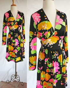Keram New York Vintage  1960s Floral Long sleeve by DustyDesert, $26.00