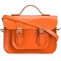 The Cambridge Satchel Company Batchel Satchel With Magnetic Closure (680 BRL) ❤ liked on Polyvore featuring bags, handbags, satchel handbags, orange satchel, real leather purses, genuine leather satchel handbags and genuine leather purse