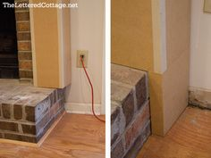 Fireplace Makeover diy to frame out fireplace - may need this to make sides straight
