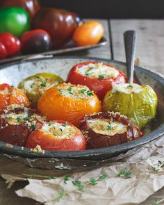 Goat Cheese Stuffed Heirloom Tomatoes | Running to the Kitchen