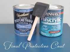 """""""The best way to get rid of a splotchy surface that results along long flat surfaces from spray paint is to coat it with one of these protective brush-on formulas with a cheapo sponge brush.  Either one works great (Varathane or Minwax Polycrylic).  They are both water based, and they can both be applied to fully cured oil based completely dry  spray painted surfaces.""""  Centsational Girl"""