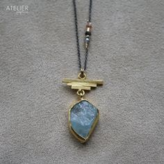 Rough aquamarine necklace by ATELIER Gaby Marcos