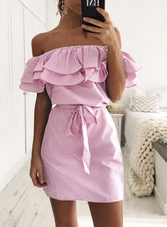 The dress features off the shoulder, short sleeve, ruffle decoration, belt decoration, striped pattern and slim fit.;Polyester, soft and comfortable;The dress features off the shoulder, short sleeve, ruffle decoration, belt decoration, striped pattern and