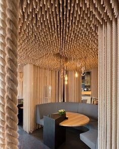 Ukrainian Odessa Restaurant boasting an impressive rope design by YOD Design Lab via ettoresottsass- ropes, interior, design Posted to Souda's Tumblr From the Pinterest Board: Interior Design - Modern Interiors from Contemporary Designers