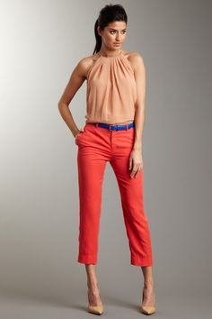 Robert Rodriguez cropped trousers in coral Summer Outfits, Casual Outfits, Cute Outfits, Fashion Outfits, Womens Fashion, Emo Outfits, Work Outfits, Fashion Boots, Trouser Outfits