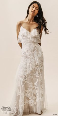 c862d95489d bhldn spring 2019 bridal sleeveless thin straps v neckline sheath lace wedding  dress ruffle skirt low