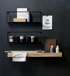 Leuke compositie; Woood wandplank Meert 50 cm metaal en plankje