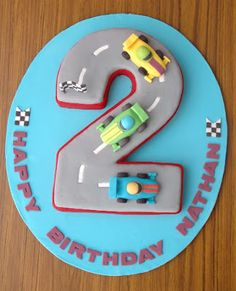 The Cupcake Gallery Blog: Racing car 2nd birthday cake