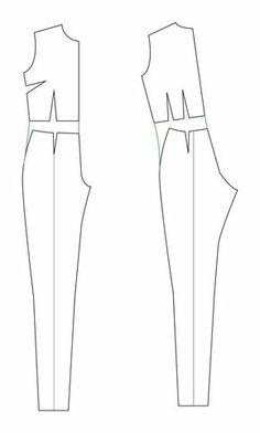 petit main sauvage: The great jumpsuit (and playsuit) tutorial Wedding Dress Patterns, Dress Sewing Patterns, Doll Clothes Patterns, Clothing Patterns, Barbie Clothes, Sewing Clothes, Diy Clothes, Jumpsuit Pattern, Pants Pattern