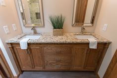 Double sink vanity- traditional brown custom built vanity in a spa like master bathroom + design and built by construction2style  | Shower Floor |The Tile Shop, Broken Brushed Volcano Cobble 14×14| $11.99 sq ft.Shower Wall Surround |The Tile Shop, Queen Beige Polished 3×6| $13.99 sq ft.Niche |The Tile Shop, Australia Caberra Stria Mosaic Tile 12×12| $39.99 sq ft.Bathroom Floor |The Tile Shop, Nordic Brown| $4.99 sq ft.Vanity |Custom built by construction2styleDecor |Anna Bailey