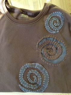 https://flic.kr/p/ed18Af | My first Alabama Chanin project | Love this teeshirt so soft but it has a grease spot & I can't get rid of it. Made my stencil, & started sewing. I have her books & taking the class on Craftsy.