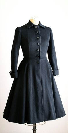 ON LAYAWAY 1940s princess coat / 40s black by VacationVintage
