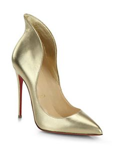 Christian Louboutin - Mea Culpa Metallic Leather High-Back Collar Pumps
