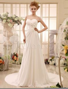 A-line Chapel Train Ivory Strapless Wedding Dress For Bride with Lovely Flower - Milanoo.com