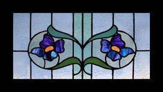 FABULOUS LILAC FLORAL ART NOUVEAU STAINED GLASS WINDOW | eBay