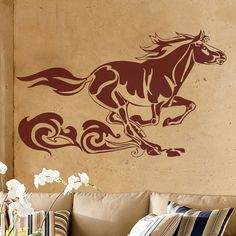 Running Horse with Tribal Swirls Wall Decal Sticker Graphic