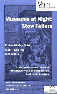 An advertisement for an evening of story telling at the Vestry House Museum - my story is about Epping Forest