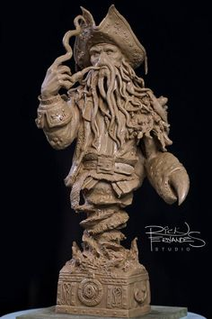 Davy Jones bust by Rick Fernandes Davy Jones, 3d Prints, Monster Art, Pirates Of The Caribbean, 3d Character, Zbrush, Lion Sculpture, Miniatures, Carving