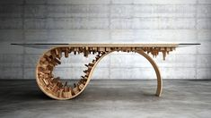 Wave City dining table: The wave city table was inspired by the Tsunami waves-combining something organic(nature) with something man-made(constructions). It is a well-balanced mixture of wood, steel and 3D printed technology. A 10 limited edition pie