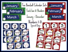 This resource includes TWO baseball themed calendar sets for your classroom. Use them together to create patterns within your calendar. This calendar set includes headers for each month, number cards 1-31, and special day cards: Mother's day, First day of school, Last day of school, Christmas, Halloween, Thanksgiving, Easter, Field Trip, 100th Day of School, Earth Day, Valentine's Day, St. Patrick's Day, & No School. Enjoy!