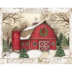 """LANG - """"Evergreen Farm"""" Boxed Christmas Cards Artwork by Susan Winget"""" - 18 19 Boxed Christmas Cards, Christmas Scenes, Christmas Gift Wrapping, Christmas Wreaths, Christmas Gifts, Christmas Ornaments, Christmas Quotes, Homemade Christmas, Christmas Truck"""