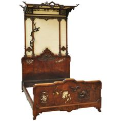 Antique Japonese style canopy bed by Gabriel Viardot; circa 1880 | From a unique collection of antique and modern beds at http://www.1stdibs.com/furniture/more-furniture-collectibles/beds/