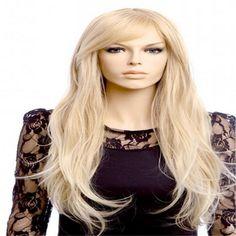 Expédition rapide 70 cm de femmes pas cher partie perruques longues blonde perruque bouclés Oblique bangs Anime Cosplay perruque résistant à la chaleur synthétique perruques