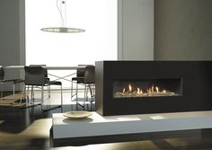 Painting of Touch Your Interior with Different Style of 3 Sided Fireplace Idea for Warm and Fashionable Result