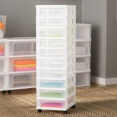14 Genius Home Office Organization Ideas to Create the Perfect Workspace - The Trending House Plastic Drawers, Large Drawers, 3 Drawer Storage, Storage Chest, Drawer Cart, Storage Cabinets, Craft Room Storage, Craft Rooms, Paper Storage