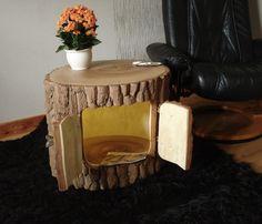 Beistelltisch aus einem Baumstamm Holzfass