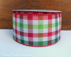 """Christmas Plaid Wired Edge Ribbon, Red, Lime Green, Hunter Green and White Check, 2 1/2"""" wide."""