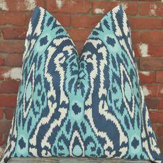 Blue Ikat, Ikat Pillow, Handmade Pillow,Decorative Pillow, Throw Pillow, Sofa Pillow, Toss Pillow, Home Furnishing, Home Decor, Made in USA,