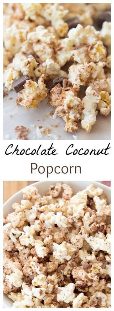 5 ingredient sweet and salty chocolate coconut popcorn. This popcorn is our favorite movie snack filled with sweet shredded coconut, chocolatey cocoa powder, and coconut oil for an extra punch of flavor. (Whats Your Favorite Movie) Popcorn Snacks, Flavored Popcorn, Gourmet Popcorn, Popcorn Recipes, Snack Recipes, Popcorn Flavours, Coconut Oil Popcorn, Popcorn Balls, Party Snacks