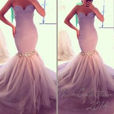 Light Purple Evening Dresses, Tulle Evening Gowns, Mermaid Party Dresses, Beading Evening Gowns, Sweetheart Formal Dresses