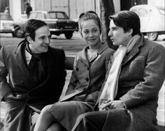François Truffaut, Jean-Pierre Léaud and Claude Jade on the set of Baisers volés.