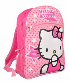"""Sanrio Hello Kitty 16"""" Large School Backpack Bag Pink Stars with One Flat Front Pocket"""