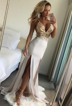 Prom Dresses Mermaid Long V Neck Evening Dresses Beaded Formal Gowns Sexy Spaghetti Straps Party Pageant Graduation Dresses #Graduationdresses