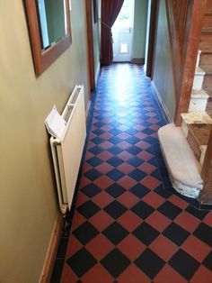 Here are the details of a job I recently completed in the town of Biggleswade, which lies on the River Ivel in Bedfordshire. My client had a fantastic red and black Victorian tiled floor with a topical seal. However, she also had a new addition to the family in the form of a new puppy and, as I'm sure most of you reading will know, puppies can be very messy and additionally urine contains Uric acid which can eat away at sealers.