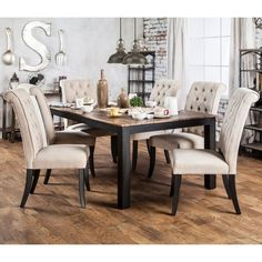 Furniture of America Sheila Rustic Two-Tone Dining Table - Weathered Elm, Black ~ $699.54 at overstock.com