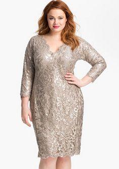 Tadashi Plus Size Sequined Lace Dress