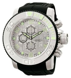 Invicta Men's 0995 Invicta II Automatic Chronograph Silver Dial Black Rubber Watch $869.79