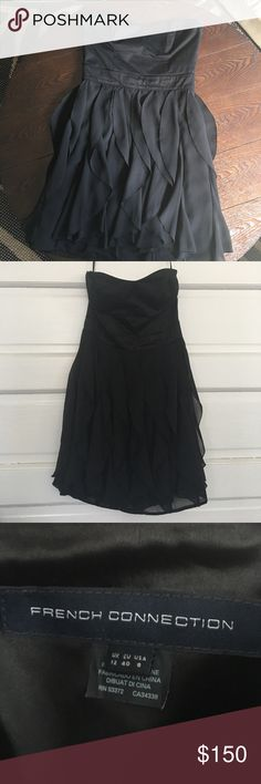 French Connection Candice Ruffle Gently used in great condition! Strapless black ruffle dress French Connection Dresses Mini
