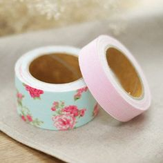 2 Set - Pure Blue Flower Pink Stripe Adhesive Fabric Tapes (0.6in, 1.2in)