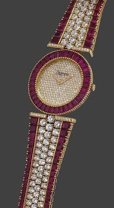 DeLaneau a fine and rare gold, diamond and ruby-set bracelet watch ruby jewelry Ruby Jewelry, Jewelry Watches, Fine Jewelry, Ruby Bracelet, Bracelet Watch, Bracelets, Stylish Watches, Luxury Watches, Ring Armband
