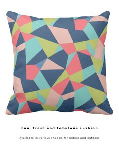 Fun, fresh and fabulous colors. This crazy patchwork style design in blue, olive, salmon and aqua is available in my zazzle store on other products too. Different cushion shapes are available. Choose for indoor or outdoor use. @zazzle