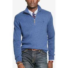 Polo Ralph Lauren Men's Half-Zip Sweater ($50) ❤ liked on Polyvore featuring men's fashion, men's clothing, men's sweaters, shale blue, mens sweaters, mens blue sweater, polo ralph lauren mens sweater and mens half zip sweater