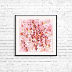 Geometric fine art, Matrix, Dimensional art, Geometric shapes, Urban Wall art,  Room decor, Pink art, Rhombus, Illusion art, Cool Gift Illusion Art, Pink Art, Cool Gifts, Geometric Shapes, Female Art, Illusions, Fine Art Prints, Room Decor, Urban