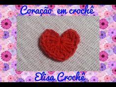 Coração em crochê para aplique # Elisa Crochê - YouTube